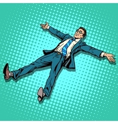 The businessman is resting with outstretched arms vector