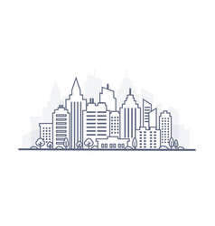 Thin line city landscape downtown landscape with vector