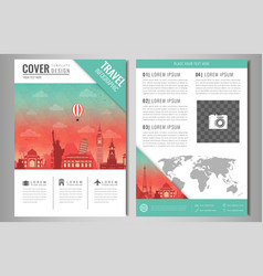travel brochure design with famous landmarks and vector image