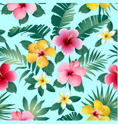 Tropical flowers and leaves on dark gray vector