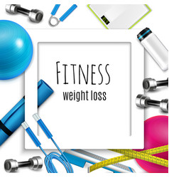 Weight loss fitness realistic frame vector