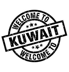 Welcome to kuwait black stamp vector