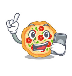 With phone margherita pizza in a cartoon oven vector