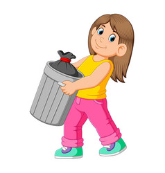 Woman to throw away garbage vector