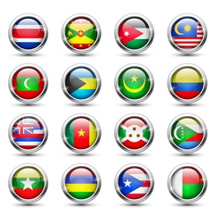 World flag glass icons vector image