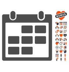 calendar month icon with dating bonus vector image