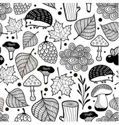hedgehog seamless pattern with nature elements vector image vector image