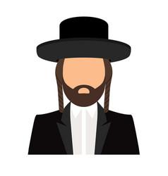 jewish orthodox rabbi avatar icon vector image
