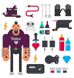 tattoo master and tattooing tools icons set vector image