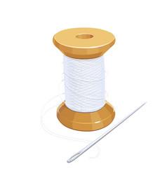 White thread reel with needle vector