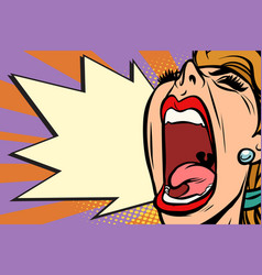 close-up face pop art woman screaming rage vector image