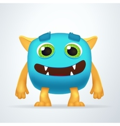 Cute colorful blue Ogre with silly smile and vector image vector image