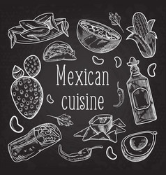 mexican food hand drawn doodle chalkboard vector image