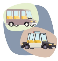 Retro Cartoon Cars Police Family Travel vector image