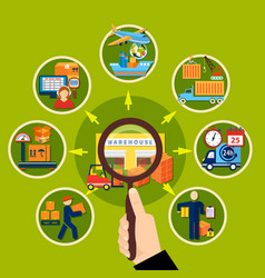 warehouse magnifier composition vector image vector image