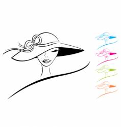woman in a hat vector image vector image