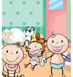 babies and animal toys vector image vector image