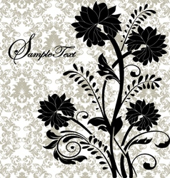 black flowers on gray damask background vector image vector image