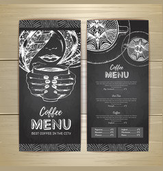 chalk drawing coffee menu design decorative vector image