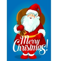 Christmas poster of Santa Claus with gift bag vector image vector image
