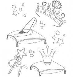 princess collectibles coloring page vector image vector image