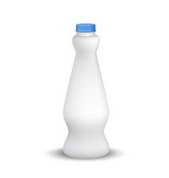 white glossy plastic bottle with screw cap for vector image