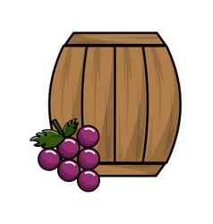 wool barrel wine with grape fruit vector image vector image