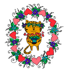 bright festive funny cat for valentine s day vector image vector image