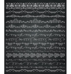 Chalk Drawing Borders and Frames Dividers Swirls vector image