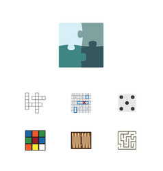 Flat icon entertainment set of backgammon cube vector