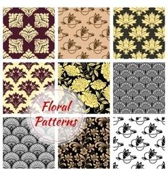 Floral ornate seamless patterns set vector image vector image