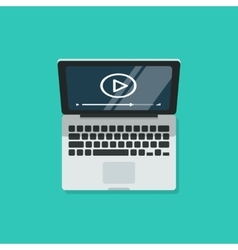 Laptop with video player on screen computer vector image