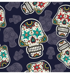 Pattern with sugar skulls vector image vector image
