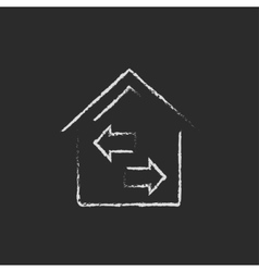 Property resale icon drawn in chalk vector image vector image