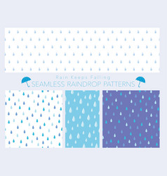 A set of seamless of raindrops vector
