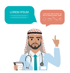 arab doctor raising up his finger to give advice vector image