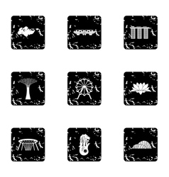 Attractions of Singapore icons set grunge style vector