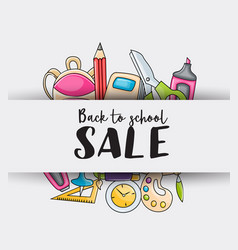 back to school sale doodle clip art greeting card vector image