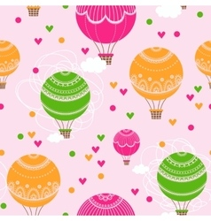 Background with hot air balloons and heart vector