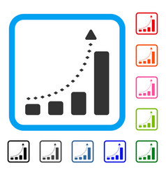 bar chart positive trend framed icon vector image