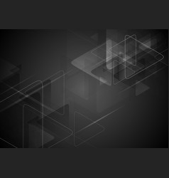 Black tech background with triangles shape vector