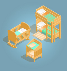 Bunk bed baby crib changing table isometric icon vector