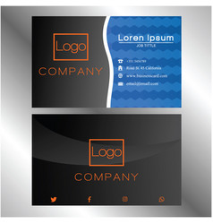 business card on dark and blue 0004 vector image