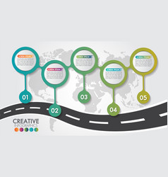 Business infographic navigation map road design vector