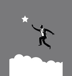 Businessman jumps to reach out for star vector