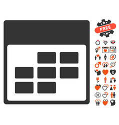Calendar month grid icon with lovely bonus vector