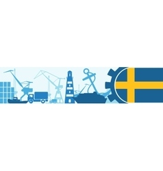 Cargo port Sweden flag in gear vector