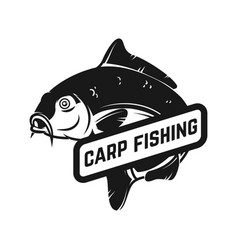 Carp fishing emblem template with carp fish vector