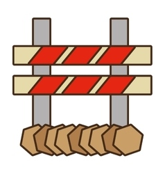 Cartoon barrier caution danger road sign design vector