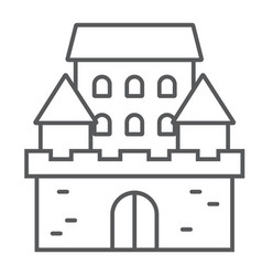 castle thin line icon architecture and fort vector image
